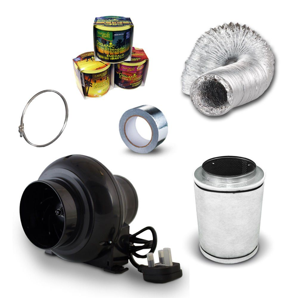 """Hydroponic In Line Fan Grow Room Led Tent Set Up Ventilation Filter Kit Small 4/"""""""