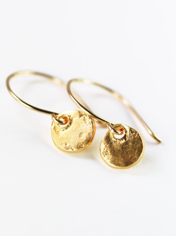 Alana Earrings Gold Everyday Simple Disc Dangle Dainty Mom Gift Hawaii