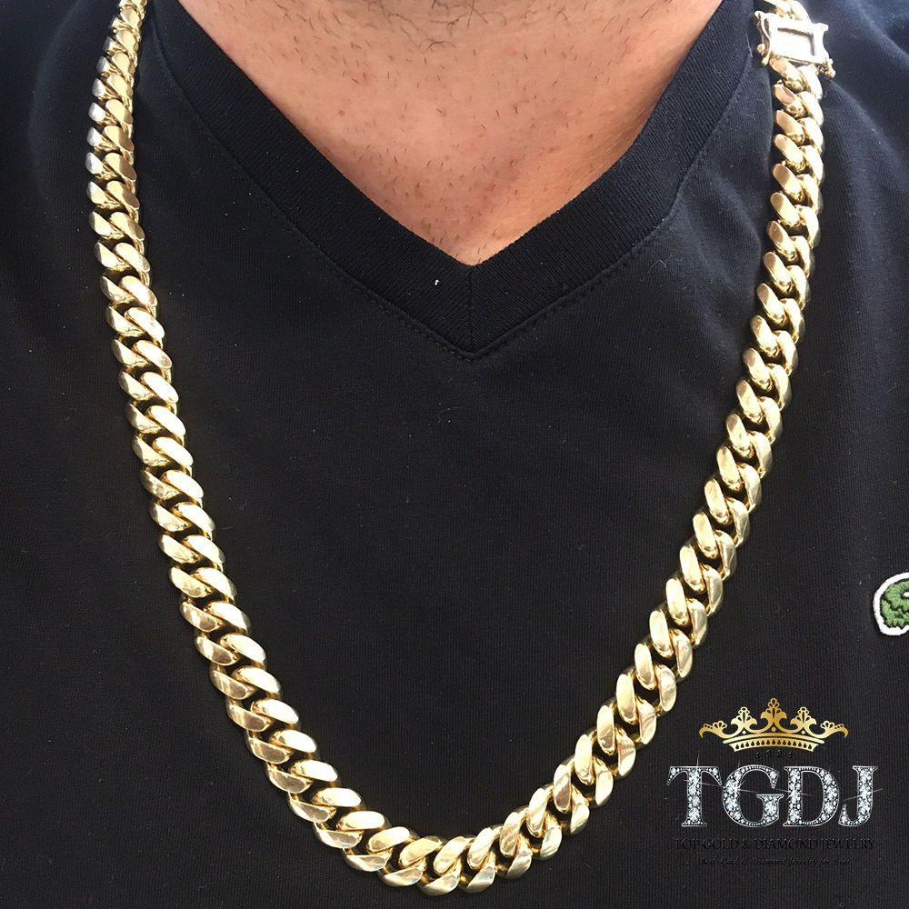 10k Yellow Gold Men S 13mm Miami Cuban Chain With Box Lock 32 Long Ebay Cuban Chain Chains For Men Miami Cuban Link Chain