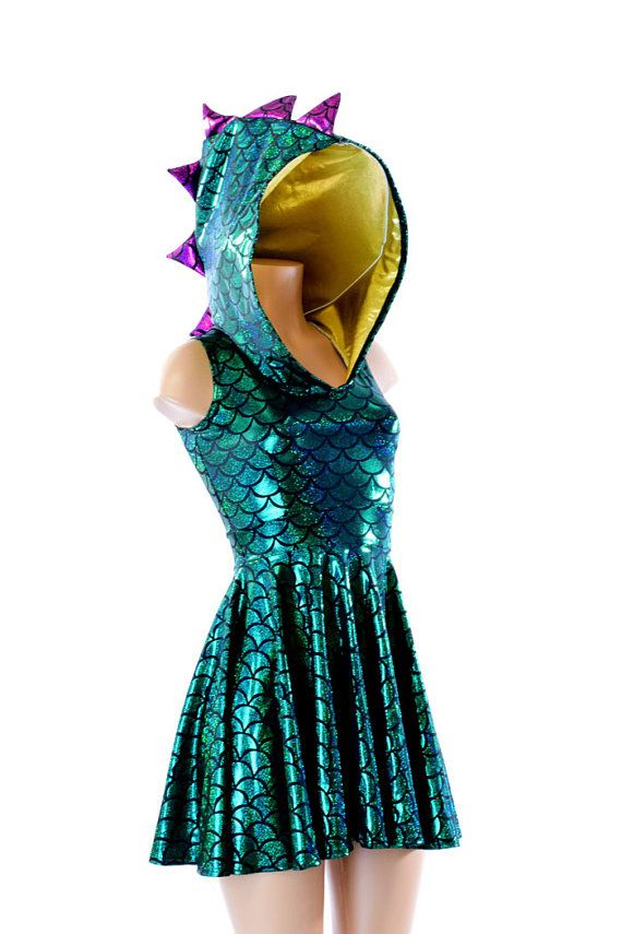 87510f5779a Mardi Gras Colors Green Scale Dragon Spiked Sleeveless Hoodie Skater Dress  with Purple Spikes and Go