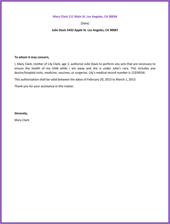 Sample Letter Authorization Health Free Samples Amp Templates Template