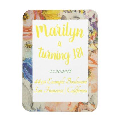 Vintage gold flowers birthday party invitation magnet filmwisefo Choice Image
