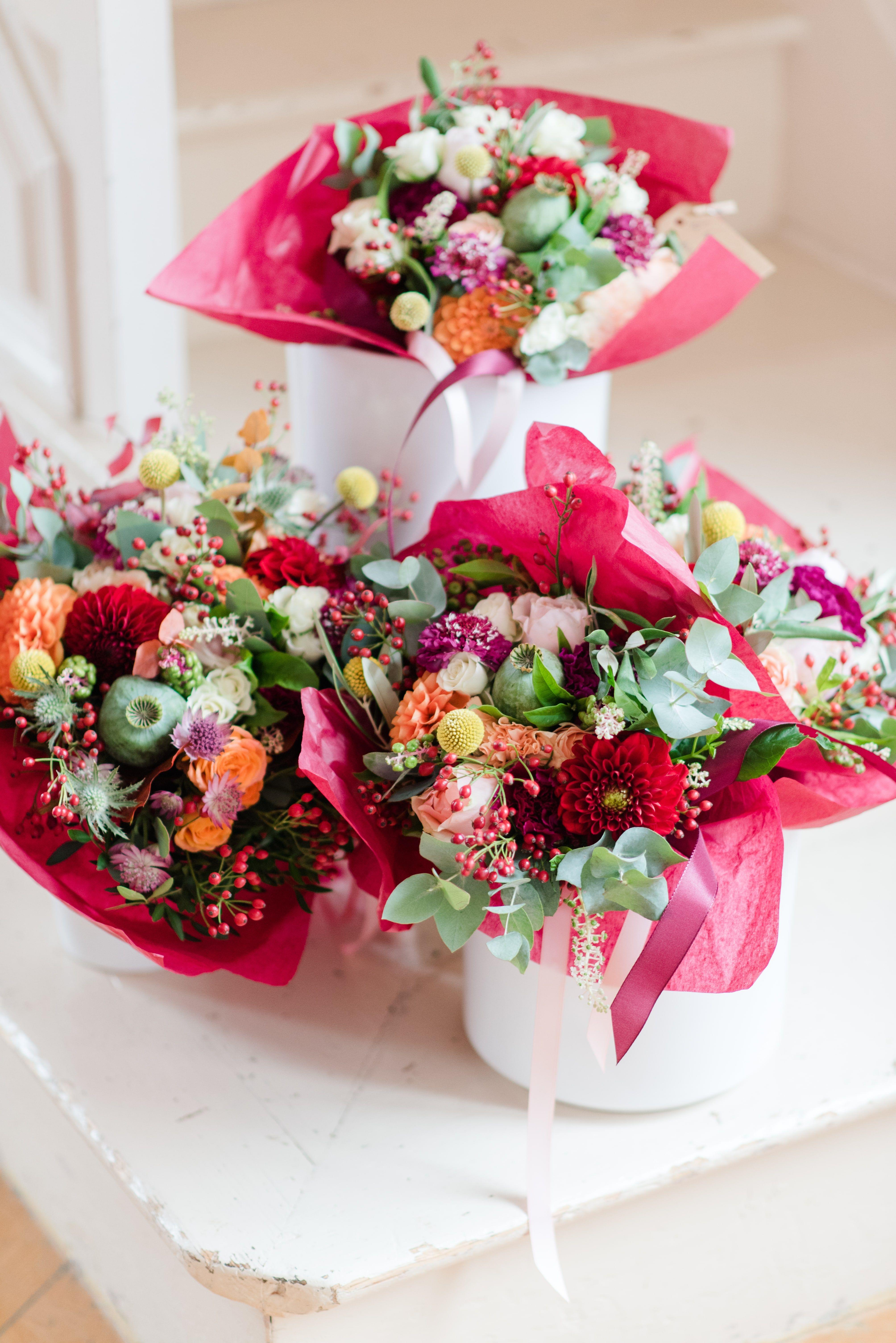 bouquet de la mariée et de ses demoiselles d'honneur : un mariage