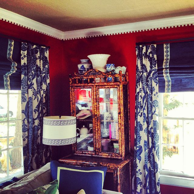 Tortoise Cabinet Patterned Curtain Roman Shade Greek Key Trim Dental Molding Gr Cloth Ceiling Blue And White Collection Red Walls Jamie Meares