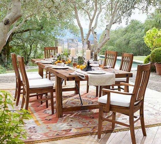 Cyndy Kilim Recycled Yarn Indoor Outdoor Rug Outdoor Dining Set Outdoor Dining Wicker Dining Tables