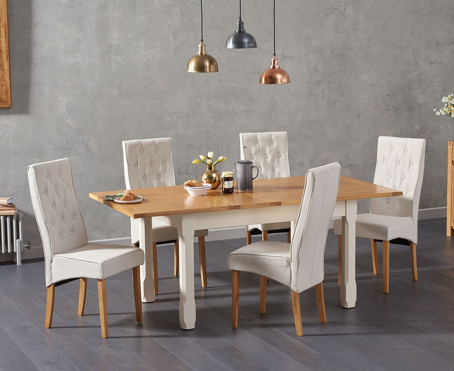 Somerset 130cm Oak And Cream Extending Dining Table With Juliette