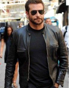 Bradley Cooper Black Sports Leather Biker Jacket For Men's ...