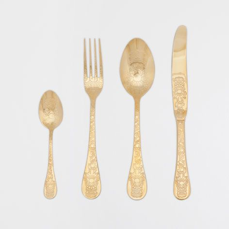 gold plated engraved cutlery zara home flatware and zara. Black Bedroom Furniture Sets. Home Design Ideas