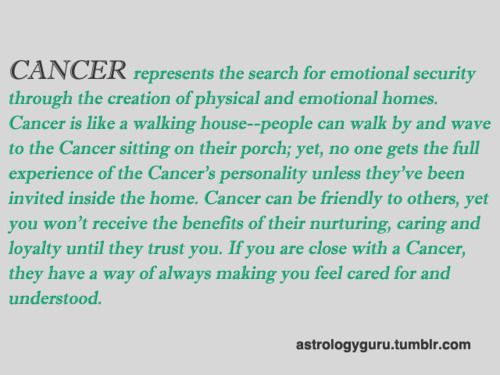 Cancer is like a walking house.