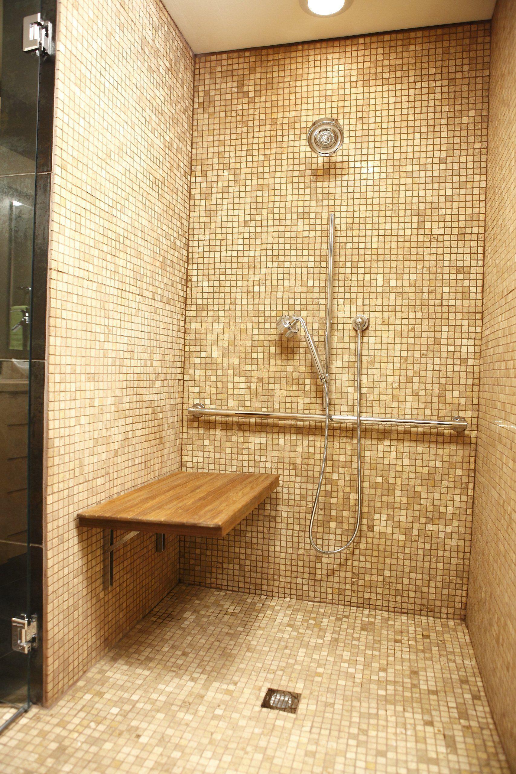 Teak Wall Mount Fold Down Shower Bench/Seat