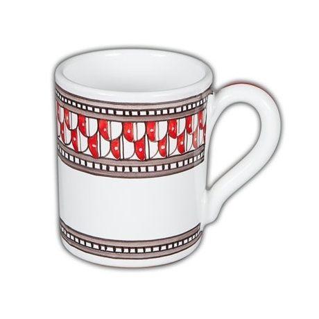 Deruta Geometrico Mug Rosso - I think this pattern would be a great gift for a certain man in my life! So stately, so handsome, so modern. Found at the Italian Pottery Outlet in Santa Barbara CA
