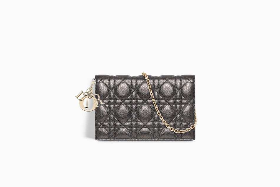 LADY DIOR WALLET ON CHAIN POUCH IN GUNMETAL METALLIC GRAINED CANNAGE  CALFSKIN - Lady Dior Dior caa7877d8c5fa