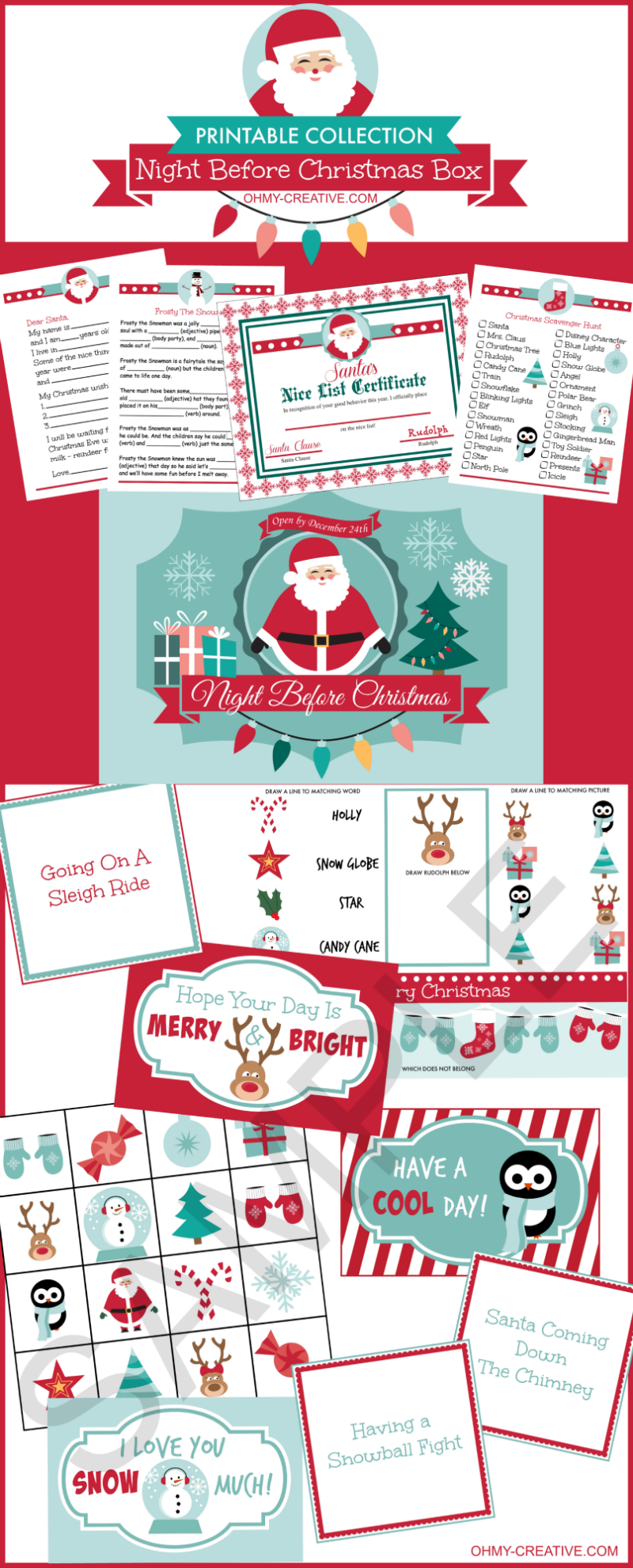 Night Before Christmas Box Printables | Lunch box notes, Nice list ...