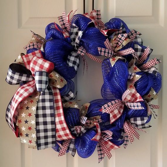 Photo of Red white & Blue peasant wreath for door, country americana wreath, patriotic USA decor