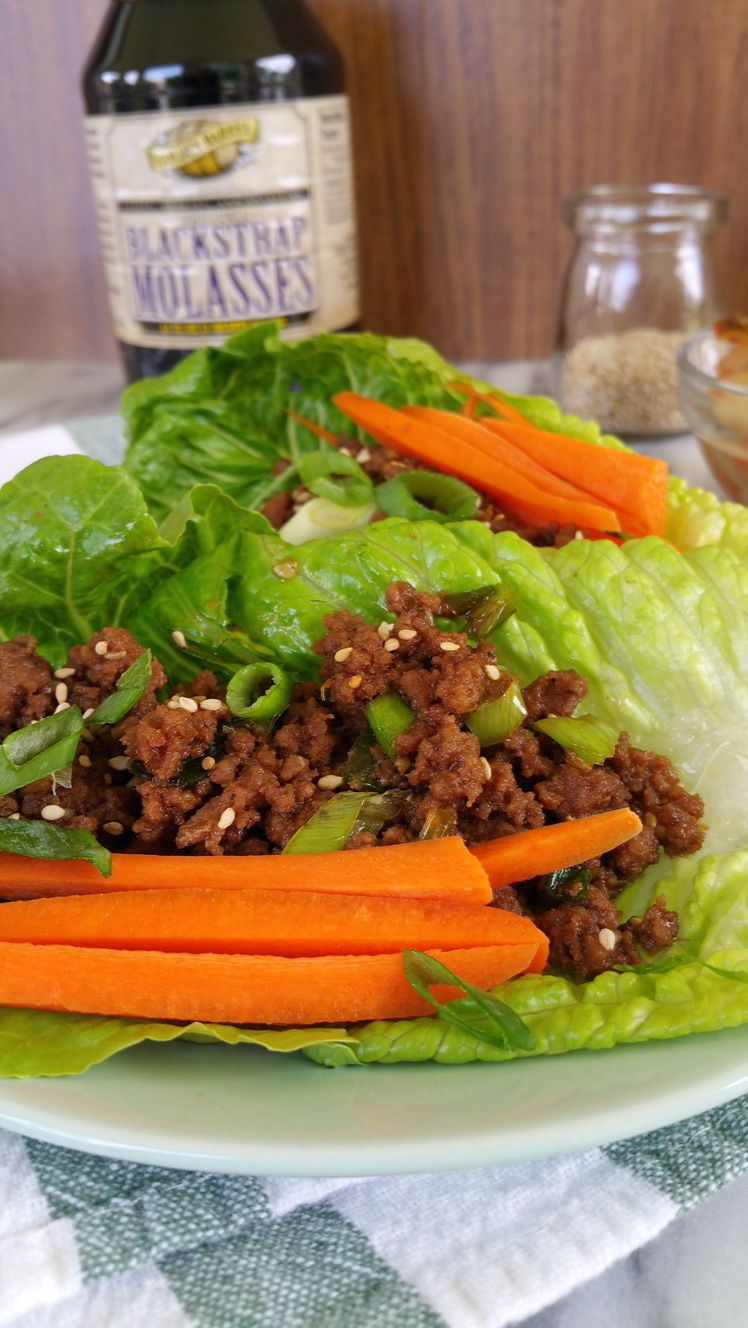 Korean Lettuce Wraps made with Golden Barrel Blackstrap Molasses. Healthy and spicy dish that is easy to make and delicious to eat.