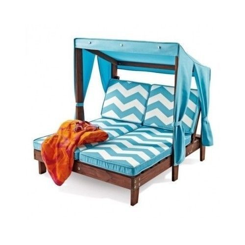 Outdoor Kidu0027s Double Chaise Lounge Chair w/ Canopy  sc 1 st  Pinterest & Chaise Patio Daybed Bed Lounge Seat Canopy Gazebo New Pool ...