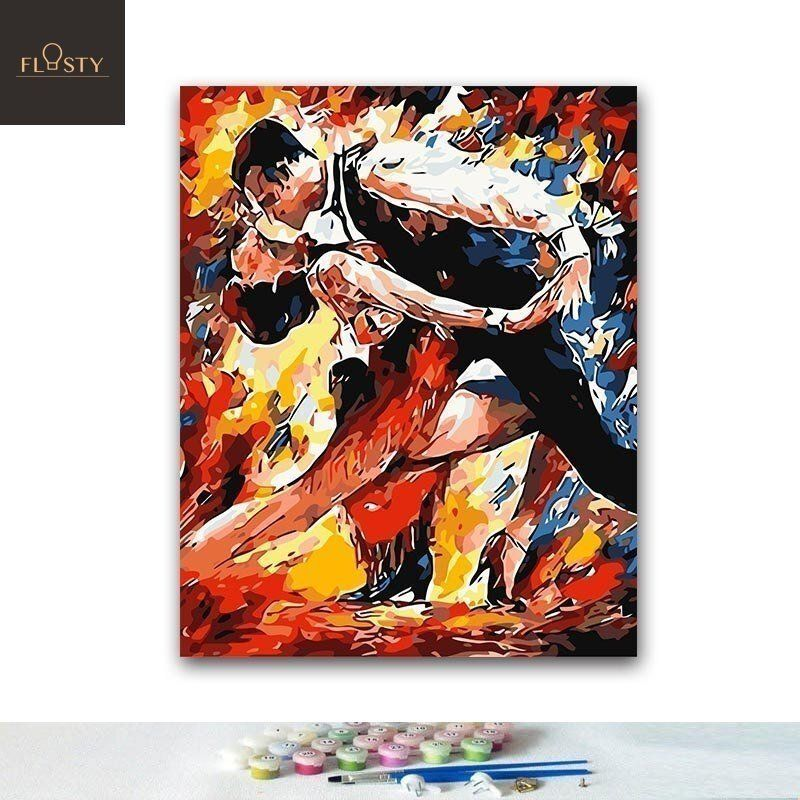 Paint By Numbers Man And Woman Dancing Together Flostypaintbynumbers Butterfly Art Painting Body Art Painting Painting
