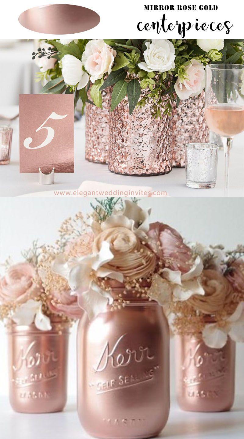 20 Unique Rose Gold Wedding Table Decoration To Inspire Elegantweddinginvites Com Blog Rose Gold Centerpieces Wedding Rose Gold Bridal Shower Gold Wedding Centerpieces