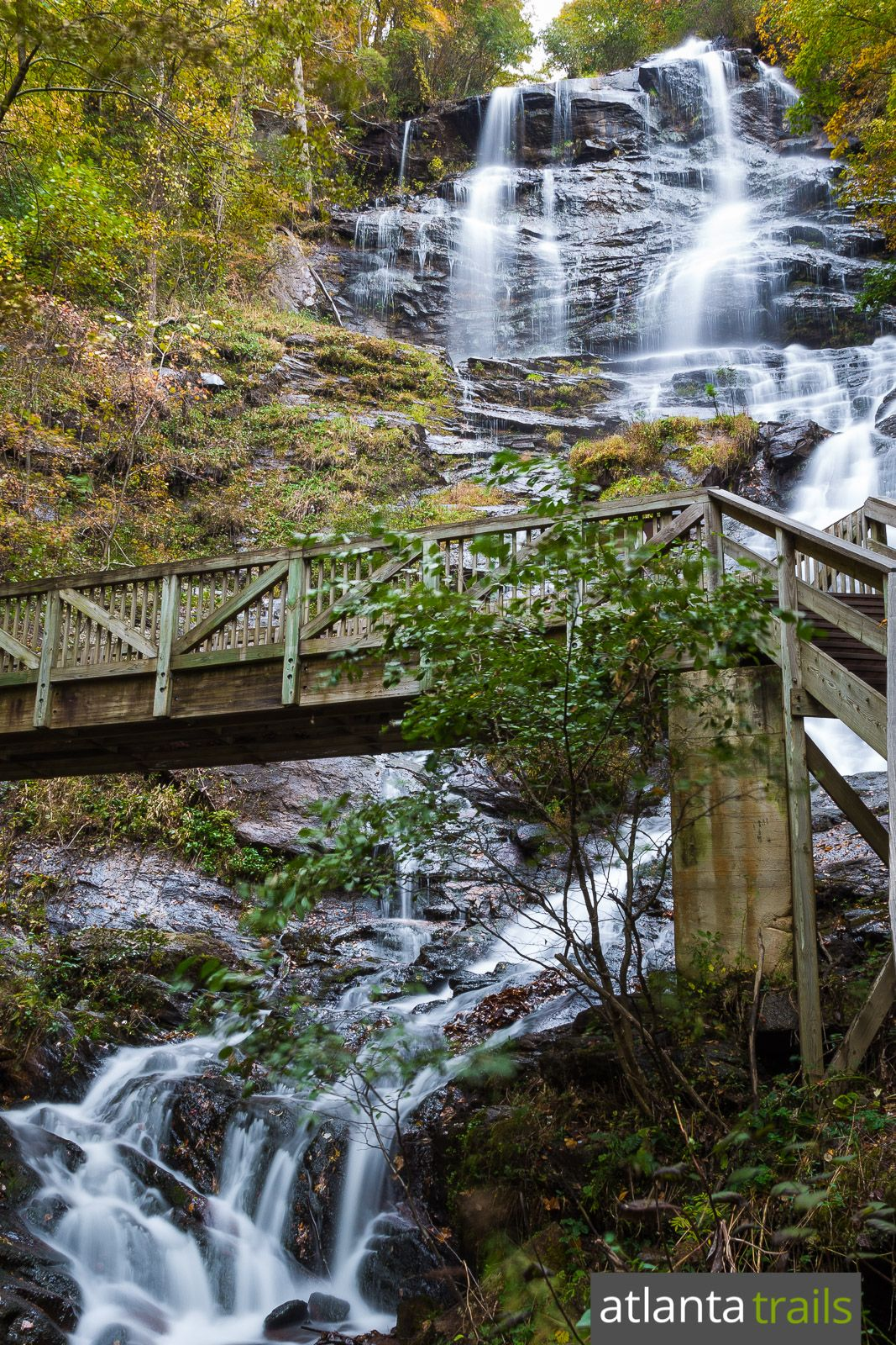 Hike the amicalola falls trail to the tallest waterfall in for Trail lodge