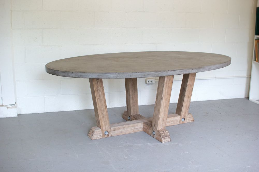 83 L Concrete Oval Dining Table With Solid Wood Base