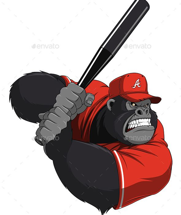 Monkey Ballplayer By Andrey1005 Vector Graphics Install Any Size Without Loss Of Quality Zip Archiv Monos Divertidos Ilustracion Vectorial Camiseta De Beisbol