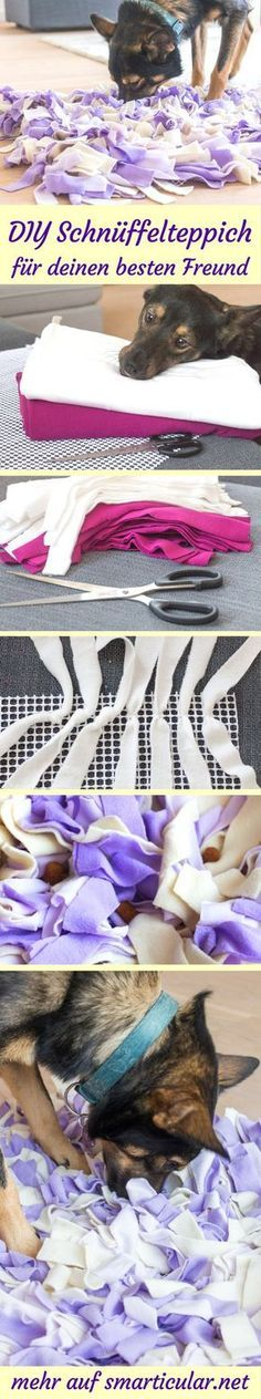 DIY-Schnüffelteppich für Hunde und Katzen selber machen aus Stoffresten #animauxentissu