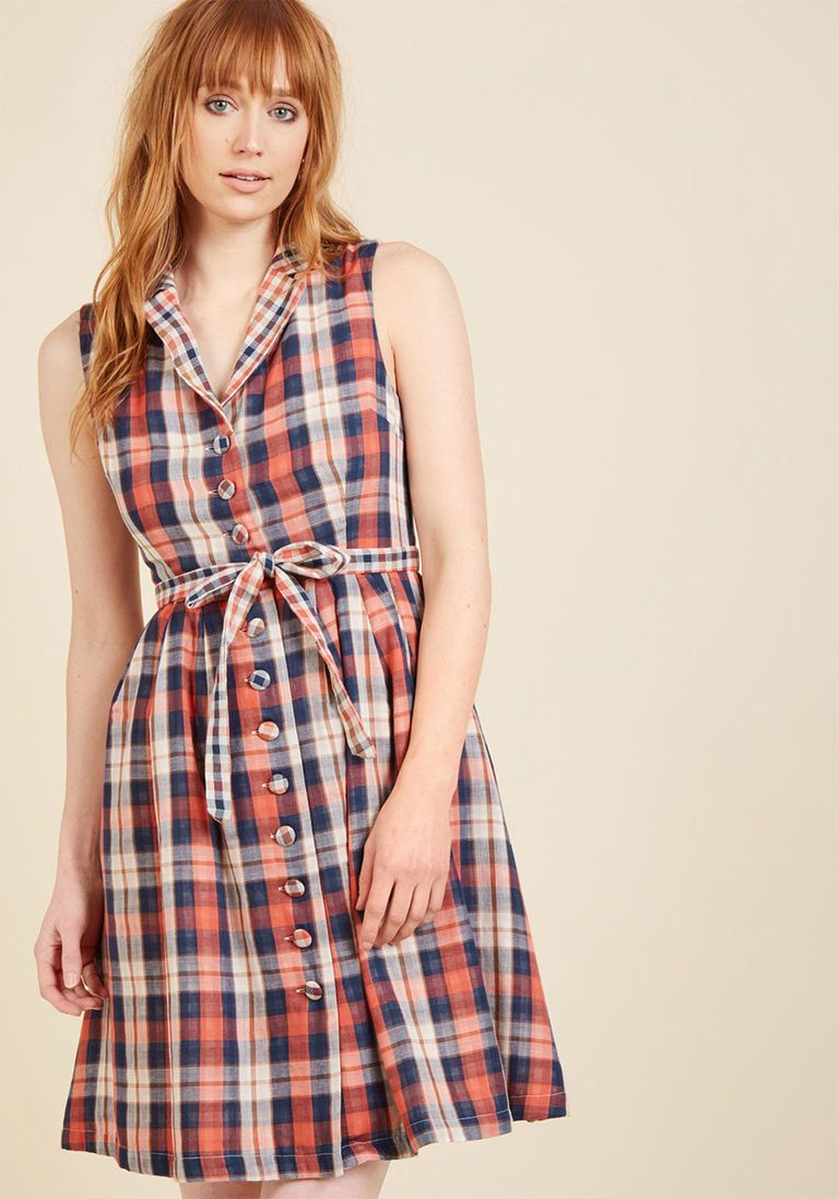 c7b88eb786 Community Brunch Shirt Dress in Plaid in XXS - Sleeveless Knee Length by  ModCloth - Plus Sizes Available