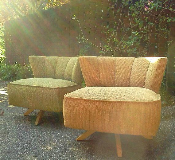 Pair Of Vintage 1950s Mid Century Modern Kroehler Swivel Armless
