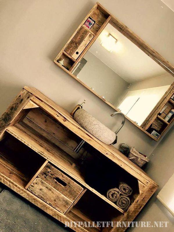 Armoire de toilette avec des palettes apartement amenagement - Meuble Avec Miroir Pour Salle De Bain