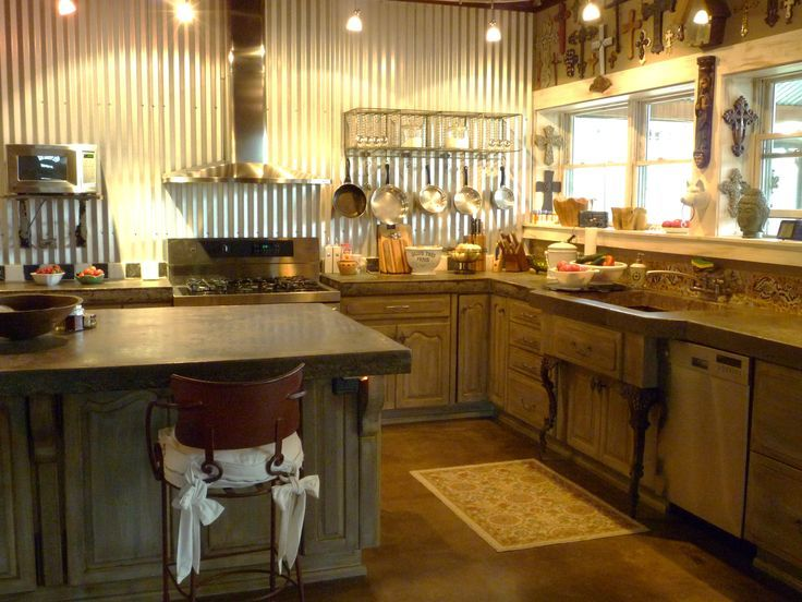Rustic Corrugated Tin Corrugated Metal Back Splash Idea