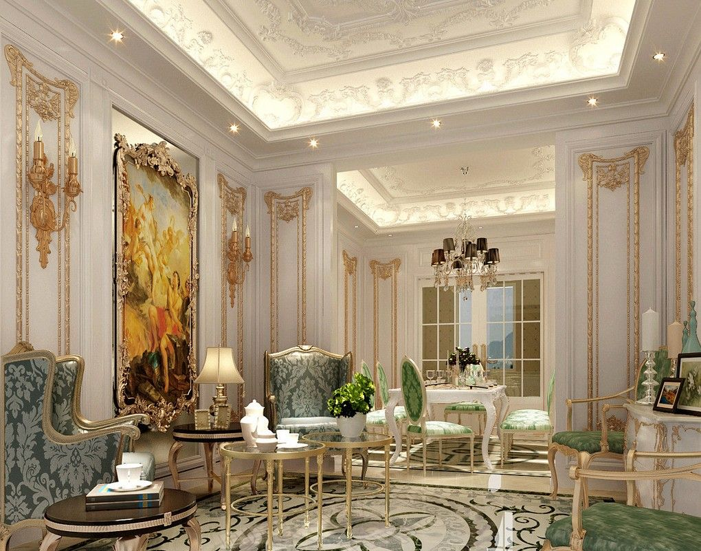 Elegant Classic French Luxury Interior Design With Big Painting And Luxury Classic  Wall Idea With Textured Wing Chair Design