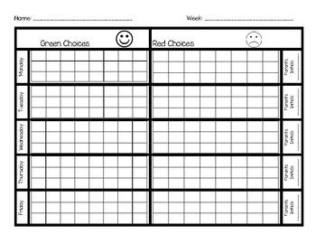 Behavior Chart--Green and Red Choices (With images