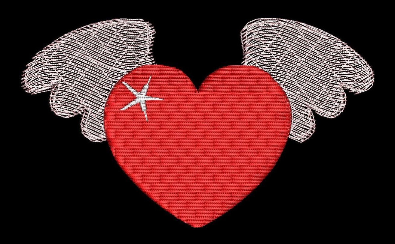 Winged Heart Filled Embroidery Design Valentine Special Machine