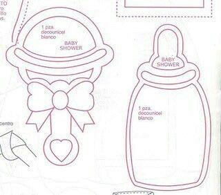 Sonajero Y Biberon Moldes Para Baby Shower Invitaciones De Baby Shower Para Imprimir Adornos Para Baby Shower