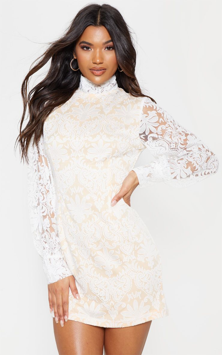 White Flocked Lace Long Sleeve Bodycon Dress Long Sleeve Bodycon Dress Lace Bodycon Dress Long Sleeve Long Sleeve Bodycon [ 1180 x 740 Pixel ]
