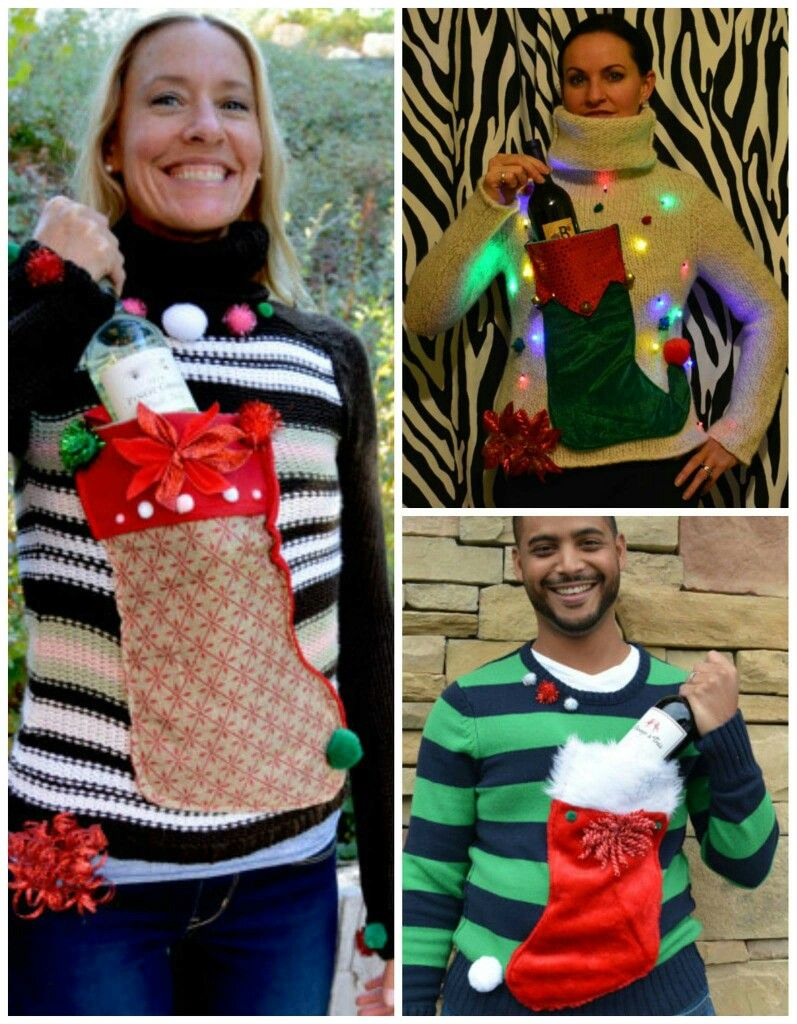 Ugly Christmas Sweater Craft Ideas Part - 23: Ugly Sweater Wine Holder...sew On A Stocking!!!! Kids Ugly SweaterUgly  Sweaters DiyFunny Xmas ...