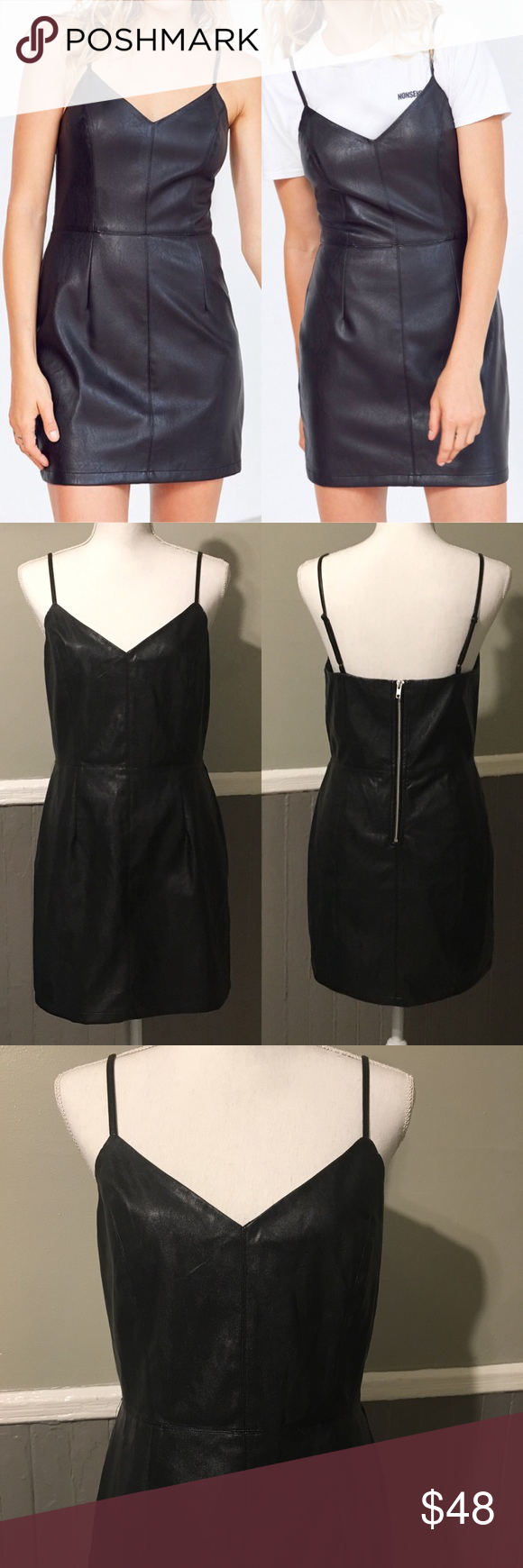 c3369d0541 Silence + Noise Faux Leather Mini Dress Size L Black Adjustable straps.  Back zipper. Label marked to avoid store returns. silence + noise Dresses