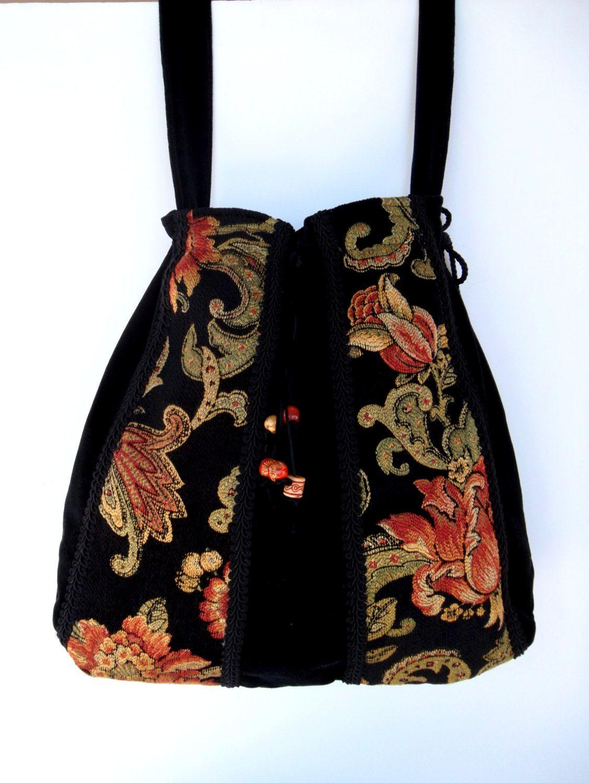 Messenger Bohemian Gypsy Bag Victorian Tapestry Black Velvet Bag  Beads  large bag  large purse gypsy bag boho bag. $58.00, via Etsy.