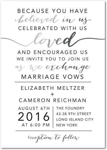 Elegant Exchange - Signature Foil Wedding Invitations - East Six - invitation wording for elopement party