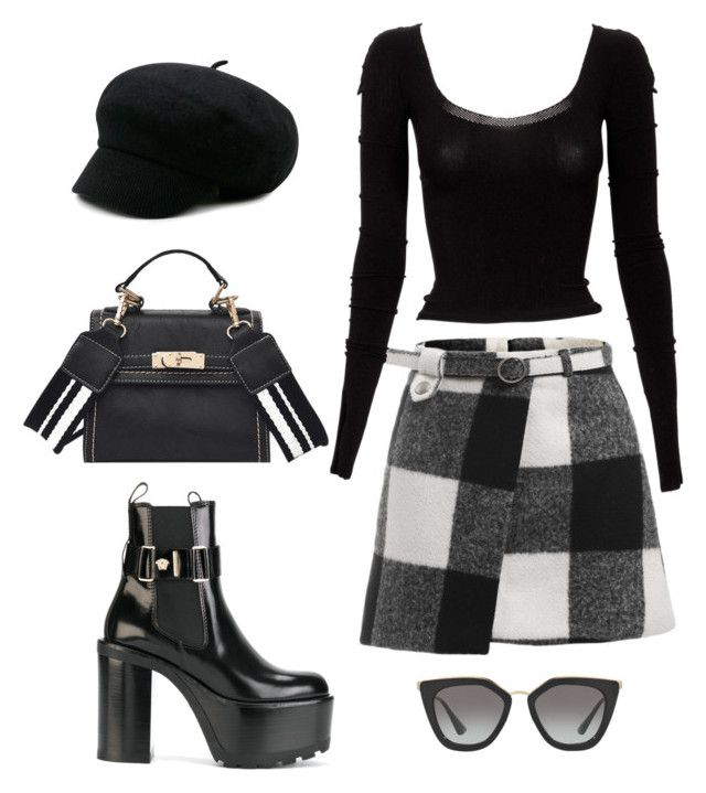 """""""London"""" by camilae97 ❤ liked on Polyvore featuring Versace, Mark Fast and Prada"""