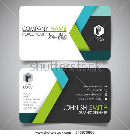 Green and blue modern creative business card and name card - name card