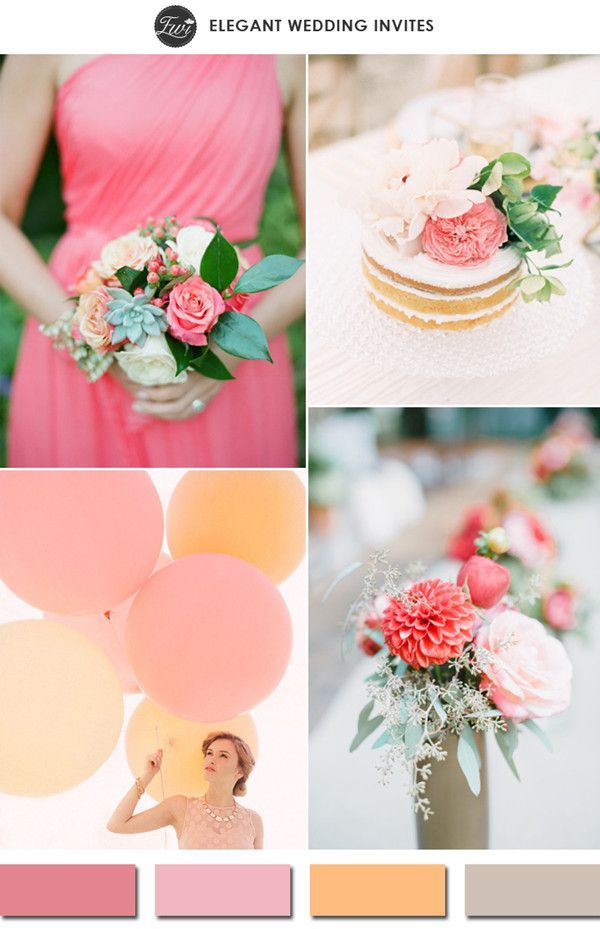 Top 10 most popular wedding color schemes on pinterest wedding shades of coral and blush pink spring wedding colors 2015 junglespirit Choice Image