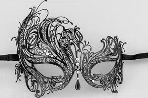 Luxury Swan Metal Laser Cut Venetian Masquerade Mask with Rhinestones