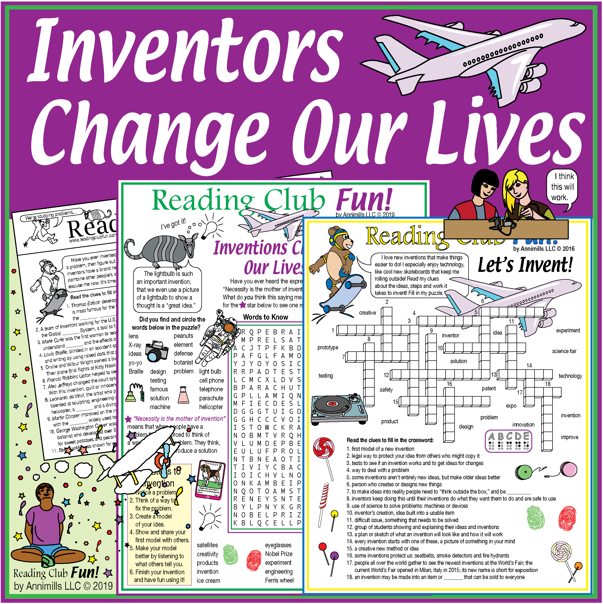 Inventions And Inventors Activity Set Crossword Word