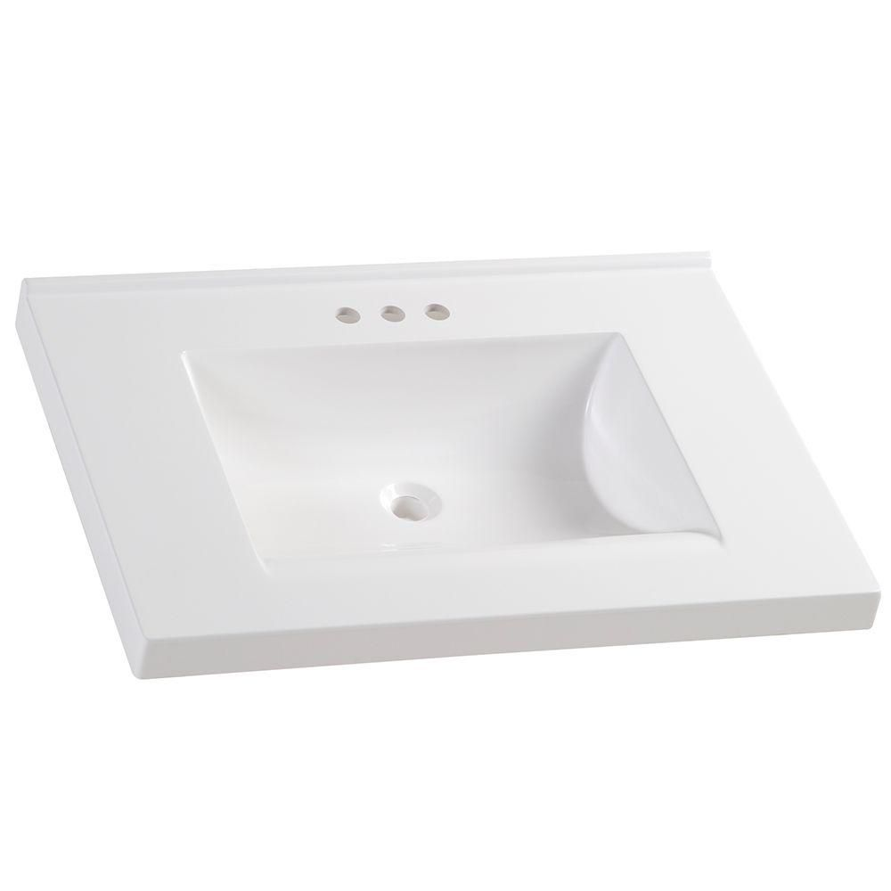 Glacier Bay 31 In W X 22 In D Cultured Marble Vanity Top In White With White Sink Hu3122r Wh Marble Vanity Tops Cultured Marble Vanity Top Marble Vanity