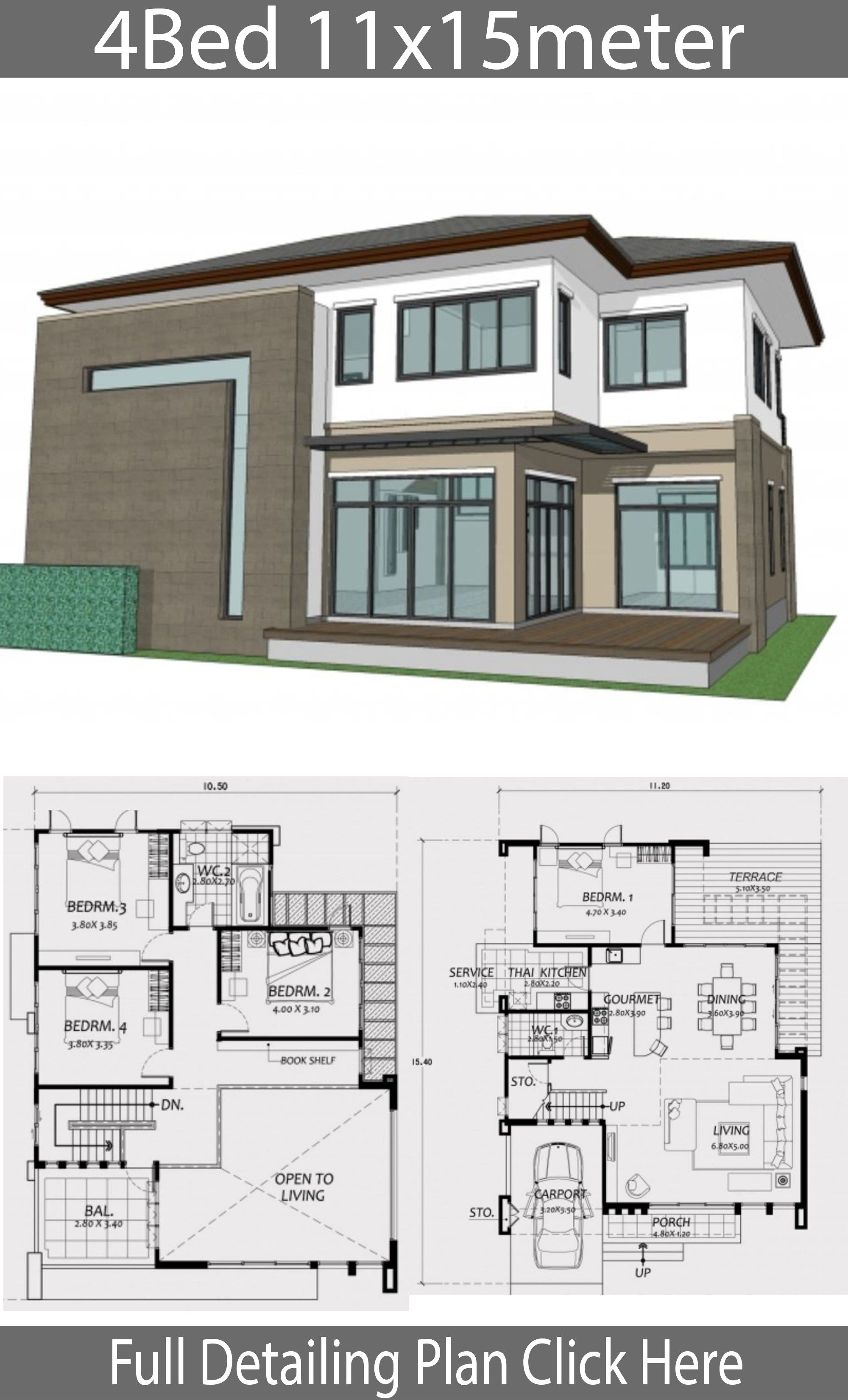 Home Design 11x15m With 4 Bedrooms Home Plans Duplex House Design Small House Design Plans Beautiful House Plans