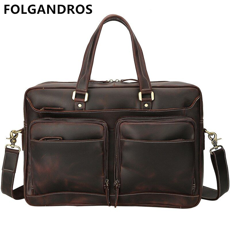 Men Retro Briefcase Business Shoulder Bag Genuine Leather Handbag Bags