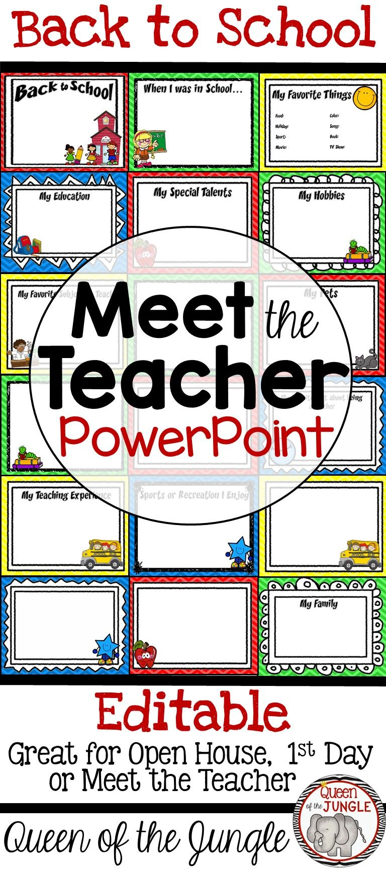 back to school powerpoint template great for open house meet the teacher and 1st day of school editable