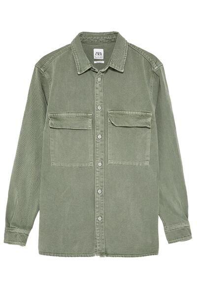 ZARA Male Overshirt with pockets Khaki S in 2019