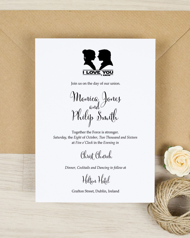 Star Wars Wedding Invitation Invitation I Love You I Know Wedding Invitation Printed Star Wars Invitations Invitation Template Wedding Invitation Templates